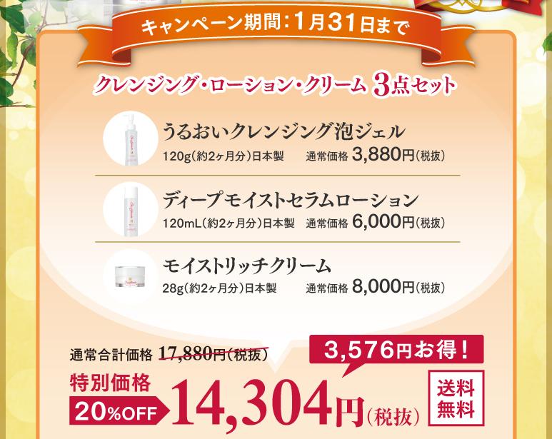 クレンジング・ローション・クリーム3点セット 14,304円